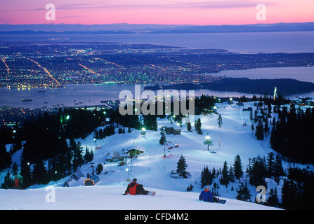View of Vancouver from top of Grouse mountain, Vancouver, British Columbia, Canada. - Stock Photo