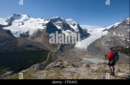Hiker taking in the views of the Columbia Icefield from Wilcox Pass, Jasper National Park, Canadian Rockies, Alberta, - Stock Photo