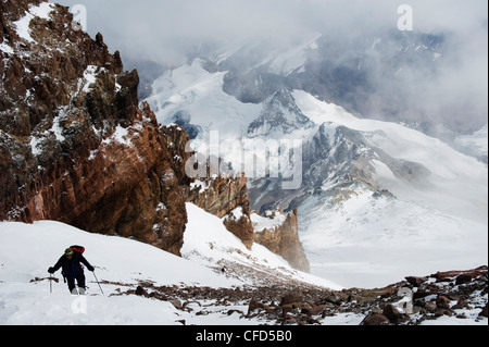 Climber nearing the summit of Aconcagua 6962m, Provincial Park, Andes mountains, Argentina - Stock Photo