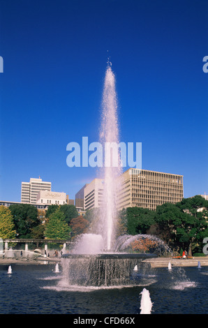 Japan, Tokyo, Fountains in the Imperial Outer Garden - Stock Photo