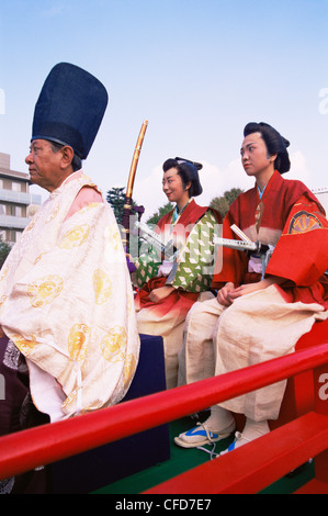 Japan, Tokyo, Women Dressed in Traditional Samurai Costume at Jidai Matsuri Festival at Sensoji Temple Asakusa - Stock Photo