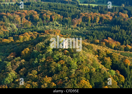 Aerial view of Kaiser Wilhelm tower, Hohe Acht is the highest mountain in the Eifel region, a tertiary volcano, - Stock Photo