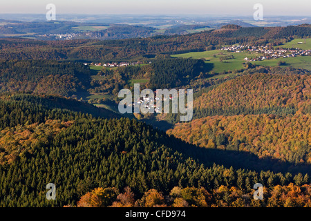 Aerial view of forest Salmwald in autumn, Eifel, Rhineland Palatinate, Germany, Europe - Stock Photo