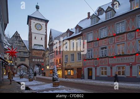 Schwabentor, Freiburg, Evening, Snow, Black Forest, Baden Wuerttemberg, Germany, Europe - Stock Photo