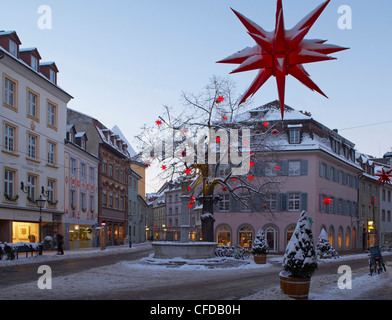 Oberlinden, Freiburg, Evening, Snow, Black Forest, Baden-Wuerttemberg, Germany, Europe - Stock Photo