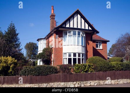 Detached house and garden in Old Felixstowe, Suffolk, England - Stock Photo