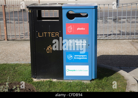 Street refuse bins for sorted waste, litter and recycling - Stock Photo