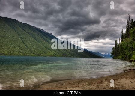 Storm over Isaac Lake in Bowron Lake Park British Columbia, Canada - Stock Photo