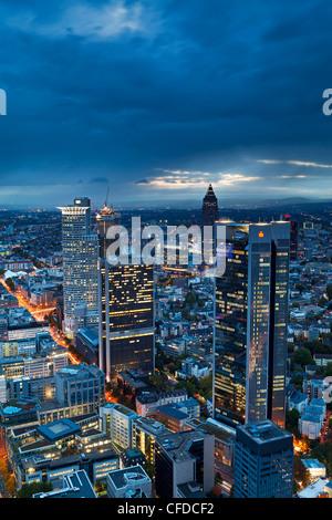 City centre from,at dusk, Frankfurt, Hesse, Germany, Europe - Stock Photo