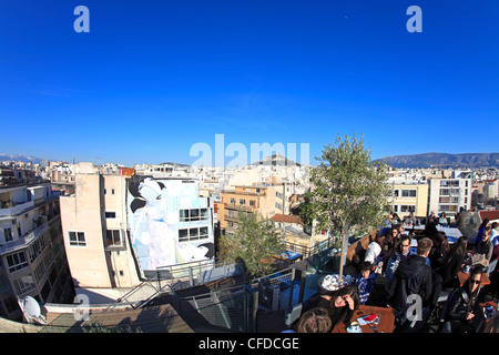 europe greece athens an aerial view of monastiraki and lykavittos from A for athens top floor bar - Stock Photo