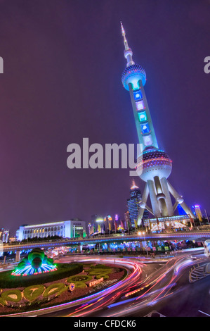 The Oriental Pearl tower by night - Shanghai (China) - Stock Photo