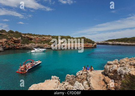 Cala Sa Nau, bay, near Cala dOr, Mallorca, Balearic Islands, Spain, Europe - Stock Photo