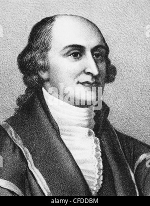 Vintage portrait print of American statesman, diplomat and lawyer John Jay (1745 - 1829) - the first US Chief Justice - Stock Photo