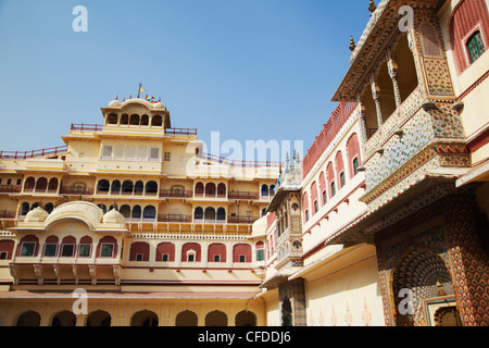 Chandra Mahal, City Palace, Jaipur, Rajasthan, India, Asia - Stock Photo