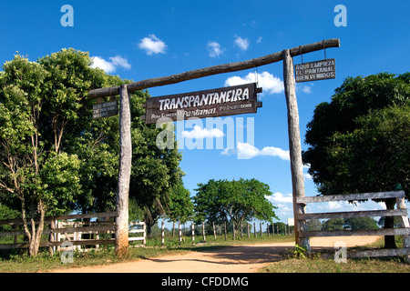 Trans-Pantanal Highway Entrance sign, Pantanal wetlands, Southwestern Brazil, South America - Stock Photo