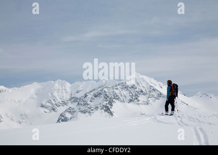 A female backcountry skier skinning along a track in the snowy mountains. - Stock Photo