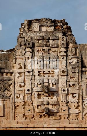 Closeup view of the Nunnery Quadrangle, Uxmal, UNESCO World Heritage Site, Yucatan, Mexico, - Stock Photo