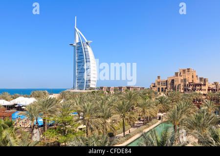 Burj Al Arab viewed from the Madinat Jumeirah Hotel, Jumeirah Beach, Dubai, United Arab Emirates, Middle East - Stock Photo