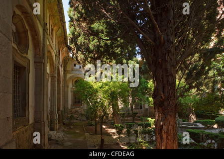 Idyllic patio at the monastery Sa Cartoixa, La Cartuja, Valldemossa, Tramuntana mountains, Mallorca, Balearic Islands, - Stock Photo