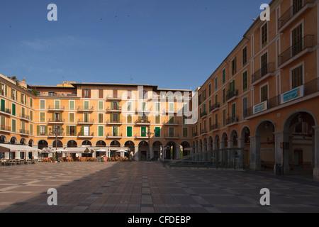 Houses at main square in the sunlight, Placa Major, Palma de Mallora, Mallorca, Balearic Islands, Spain, Europe - Stock Photo