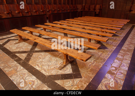 Wooden benches in the church of monastery Sa Cartoixa, La Cartuja, Valldemossa, Tramuntana mountains, Mallorca, - Stock Photo