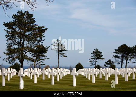 American cemetery at Omaha Beach, Colleville-sur-Mer, Normandy, France, Europe - Stock Photo