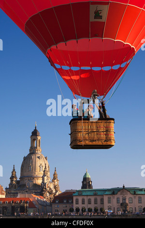Balloon rising from the Elbe riverbank, Frauenkirche in the background, Dresden, Saxonia, Germany, Europe - Stock Photo