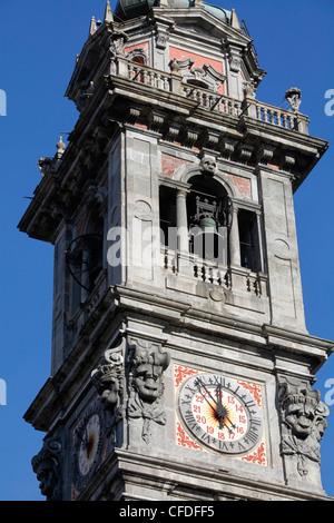 Basilica di San Vittore clock tower, Varese, Lombardy, Italy, Europe - Stock Photo