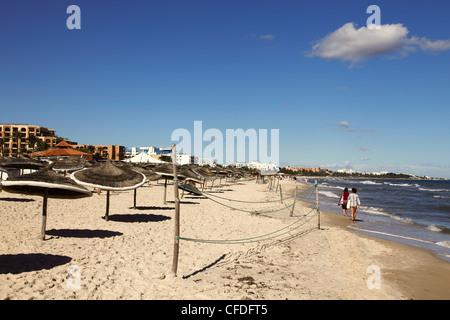 Beach scene in the tourist zone on the Mediterranean Sea, Sousse, Gulf of Hammamet, Tunisia, North Africa, Africa - Stock Photo