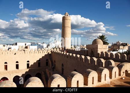 Ribat, monastic fortress viewed from the roof, Medina, Sousse, Tunisia, North Africa, Africa - Stock Photo