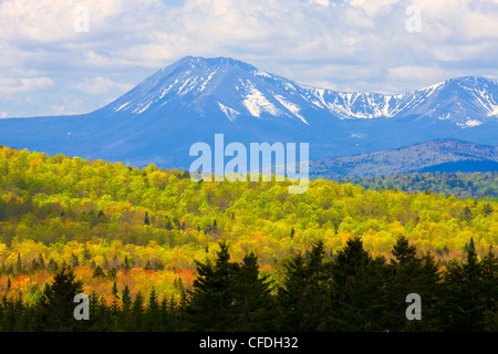 Mount Katahdin shrouded in cloud, Baxter State Park, Maine, United States of America - Stock Photo