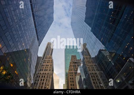 High rise buildings at Park Avenue, Manhattan, New York, USA, America - Stock Photo