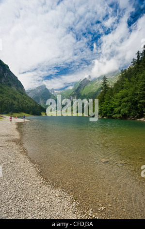 The lake Seealpsee under clouded sky, Alpsteingebirge, Saentis, Appenzeller Land, Switzerland, Europe - Stock Photo