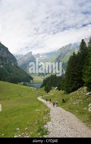 Hikers on a track at Seealpsee, Alpsteingebirge, Saentis, Appenzeller Land, Switzerland, Europe - Stock Photo