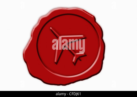 Detail photo of a red seal with a aircraft Symbol in the middle - Stock Photo