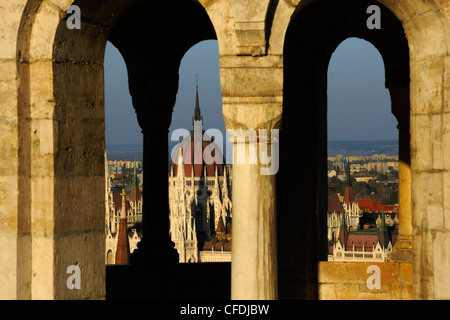 View from Fisherman's Bastion onto House of Parliament, Budapest, Hungary, Europe - Stock Photo