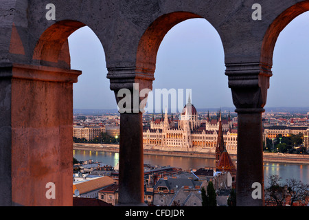 View from the Fisherman's Bastion onto the House of Parliament at Danube river, Budapest, Hungary, Europe - Stock Photo