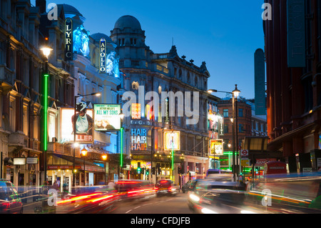 Theatreland in the evening, Shaftesbury Avenue, London, England, United Kingdom, Europe - Stock Photo