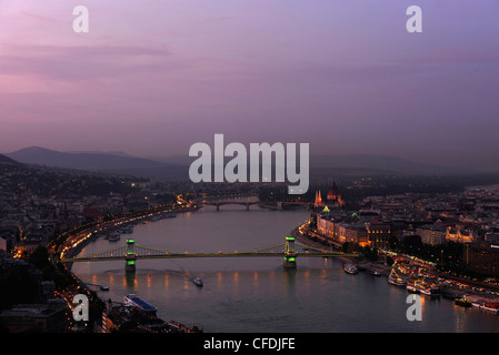 View over Castle hill, Danube river and Chain Bridge in the evening, Budapest, Hungary, Europe - Stock Photo