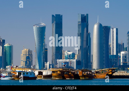 Modern skyline from Dhow Harbour, Doha, Qatar, Middle East - Stock Photo