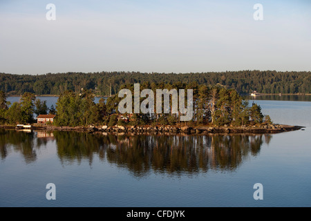 Houses on small island in Stockholm Archipelago, near Stockholm, Sweden - Stock Photo