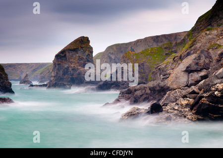 Bedruthan Steps and Carnewas, Cornwall, England, United Kingdom, Europe - Stock Photo