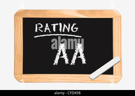 """Detail photo of a chalkboard with the inscription """"Rating AA"""", white chalk lies in a corner, background white. - Stock Photo"""