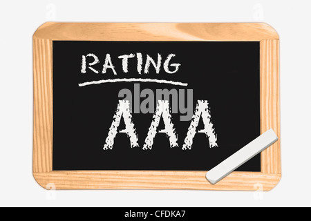 """Detail photo of a chalkboard with the inscription """"Rating AAA"""", white chalk lies in a corner, background white. - Stock Photo"""