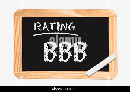"""Detail photo of a chalkboard with the inscription """"Rating BBB"""", white chalk lies in a corner, background white. - Stock Photo"""