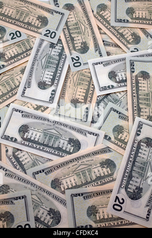 US twenty dollar currency bank notes - Stock Photo