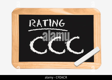 """Detail photo of a chalkboard with the inscription """"Rating CCC"""", white chalk lies in a corner, background white. - Stock Photo"""