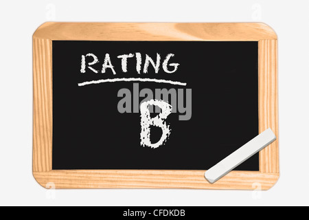 """Detail photo of a chalkboard with the inscription """"Rating B"""", white chalk lies in a corner, background white. - Stock Photo"""