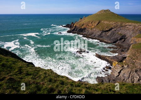 View of Atlantic surf at  Rumps Point, Pentire Headland, North Cornwall, England, United Kingdom, Europe - Stock Photo