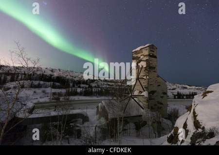 The aurorborealis northern lights  one abandoned - Stock Photo